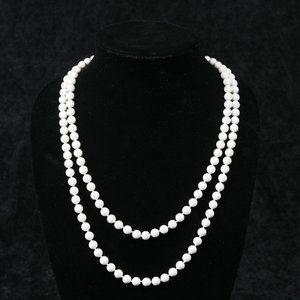 Vintage Long strand White faux Pearl Necklace